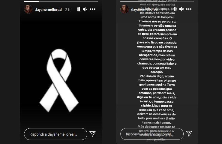 Dayane Mello messaggio di lutto